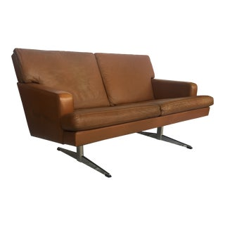 Vintage Cognac Leather Lounger Loveseat in Style of Frederick Kayser For Sale