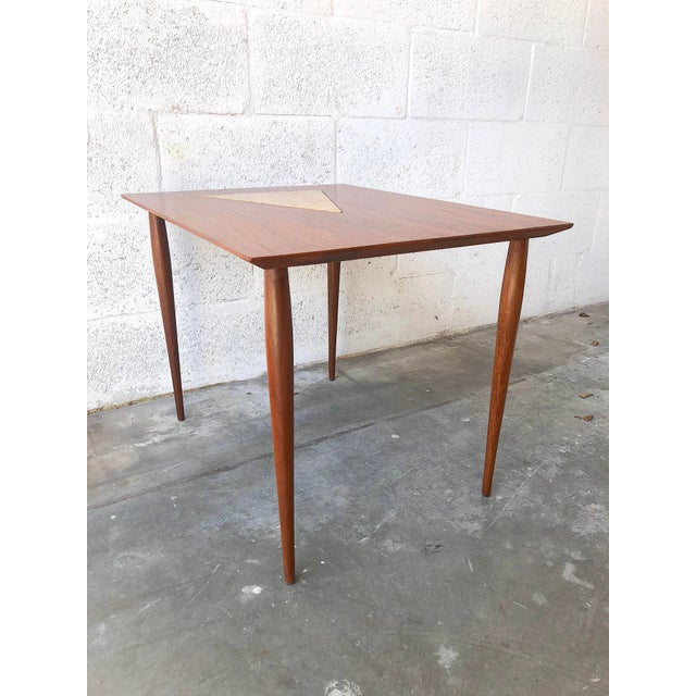 Vintage Mid Century Modern End Table With Travertine Inlay. For Sale - Image 4 of 10