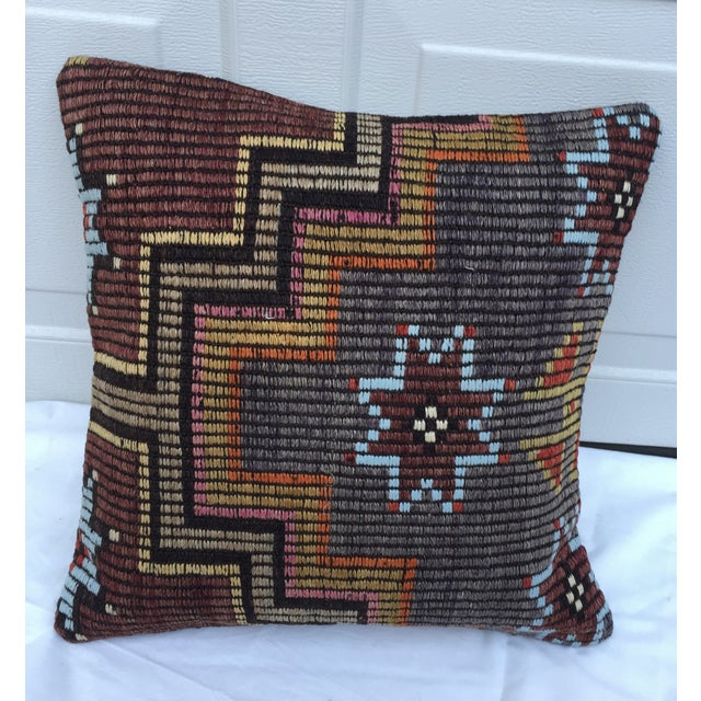 Southwestern Woven Kilim Pillow For Sale - Image 4 of 7