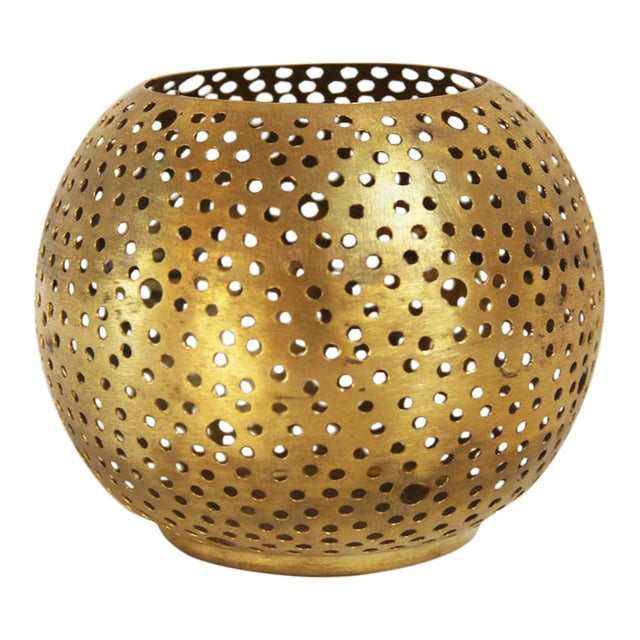 Small Brass Ball Candle Holder - Image 1 of 3