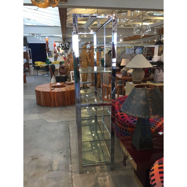 Mid-Century Modern Milo Baughman Attributed Chrome and Glass Etagere For Sale - Image 3 of 6