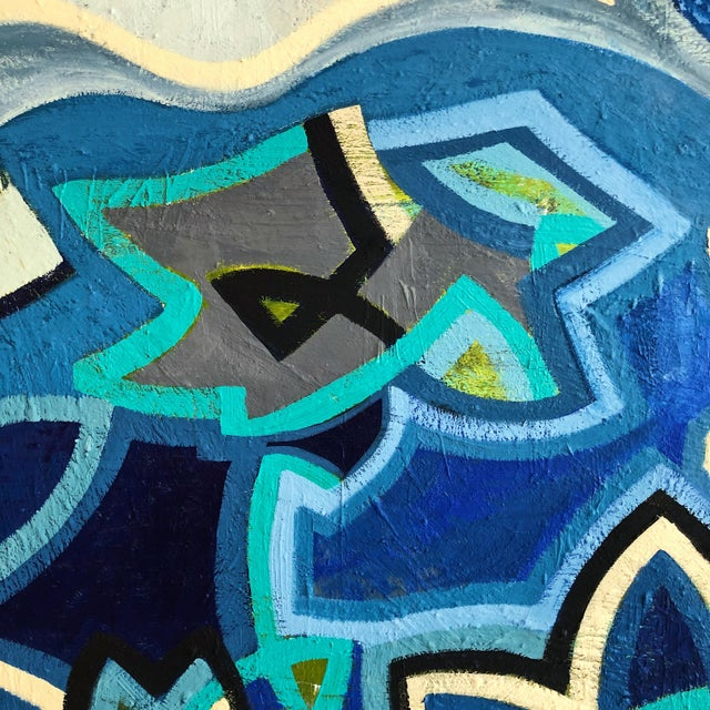 Abstract 1980s Abstract Multi Blue Colored Oil on Canvas Painting For Sale - Image 3 of 10