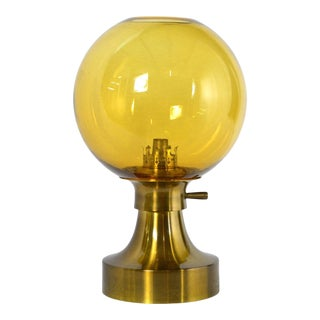 Prescolite Danish Modern Amber Globe Oil Lamp For Sale