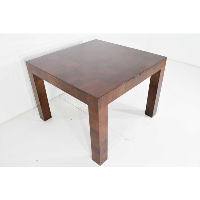 Milo Baughman burl wood parquet dining or card table. Parsons style with solid legs and top. Very well constructed. This...