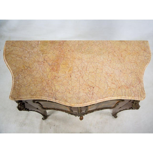 19th Century Antique French Vernis Martin Style Marble Top and Bronze Commode For Sale - Image 11 of 13