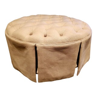 Ballard Beige Tufted With Storage Round Ottoman For Sale