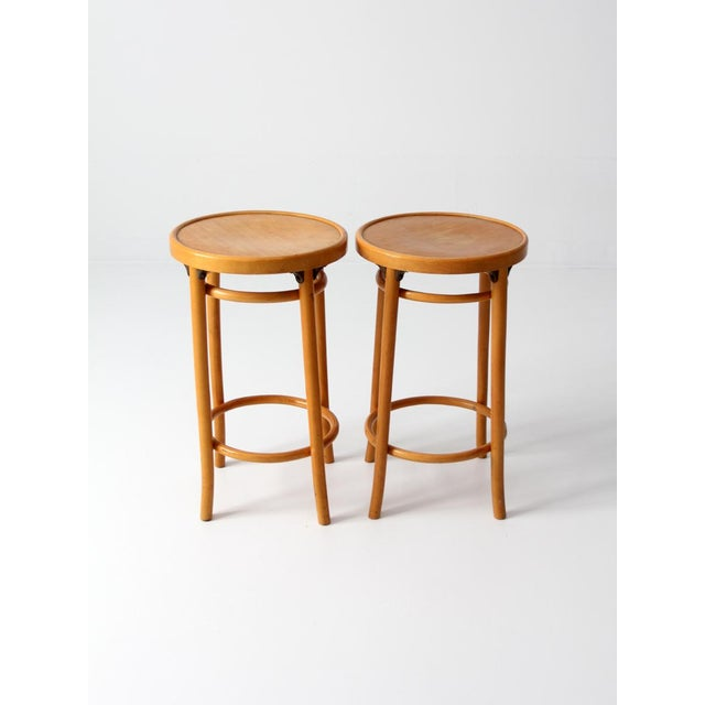 Mid-Century Bentwood Stools - A Pair For Sale - Image 4 of 8