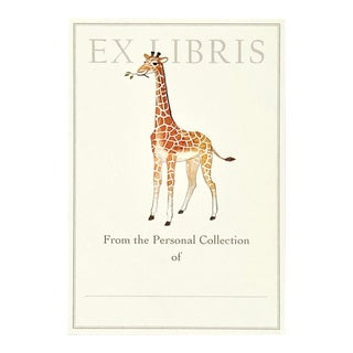 """""""Giraffe Calf"""" - Illustrated Large Bookplates - Set of 5 For Sale"""