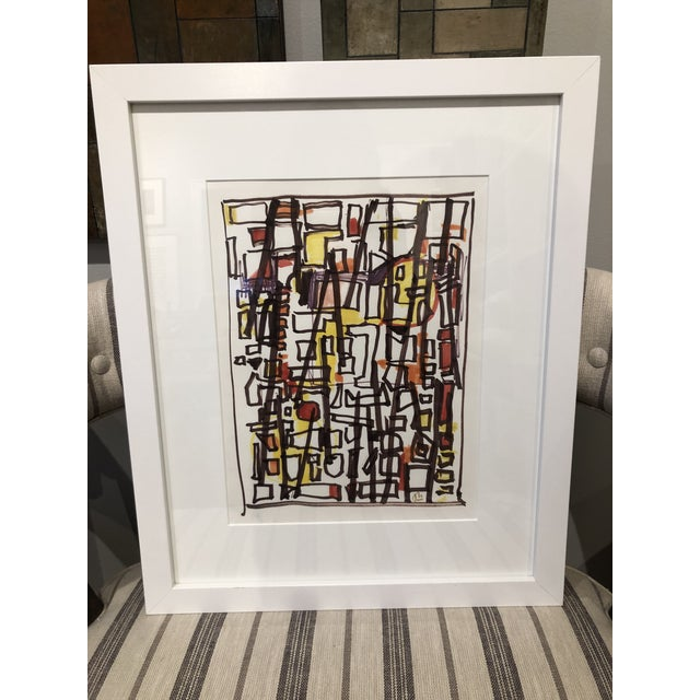 Abstract Vintage Mid-Century 'Tenement' Abstract Marker Drawing For Sale - Image 3 of 3