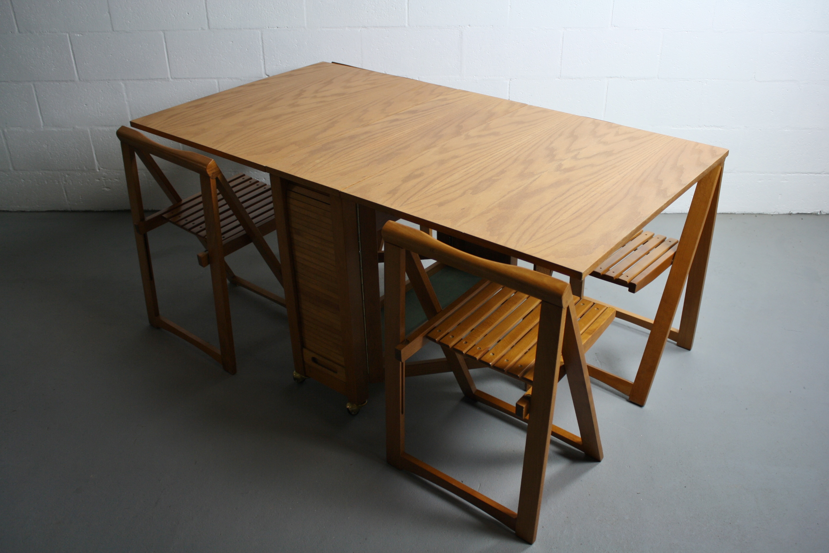 Mid Century Drop Leaf Hideaway Table With 4 Chairs Chairish