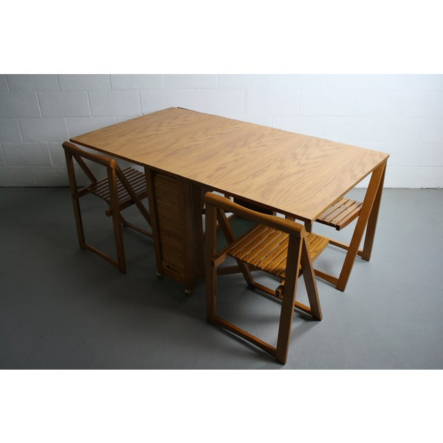 Brown Mid-Century Drop Leaf Hideaway Table With 4 Chairs For Sale - Image 8 of 9