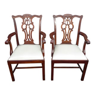 Vintage Maitland Smith Chippendale Style Carved Accent Chairs - aPair For Sale