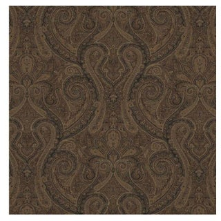 Brown Paisley Ralph Lauren Assyrian Paisley CL Cordovan Cotton Upholstery Fabric - 1 Yard For Sale