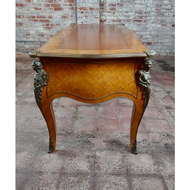 Gold Louis XV Bureau Plat-Bronze Mounted, Inlaid Parquetry and Leather Top- Desk For Sale - Image 8 of 10