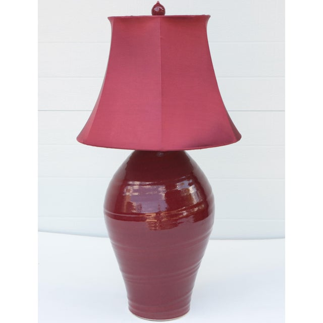 Monochrome Oxblood Studio Pottery Lamp For Sale In Madison - Image 6 of 6