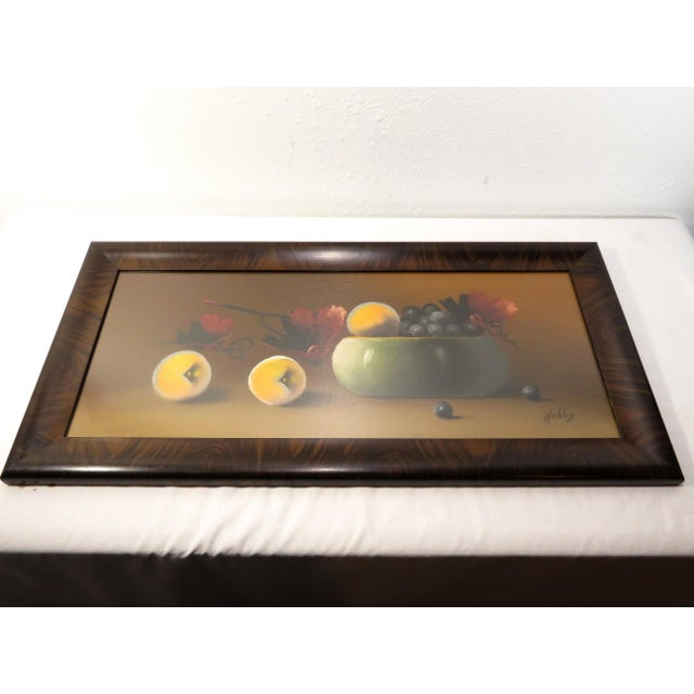 Victorian Antique 19th Century Signed Still Life Fruit Bowl Pastel Painting For Sale - Image 3 of 7