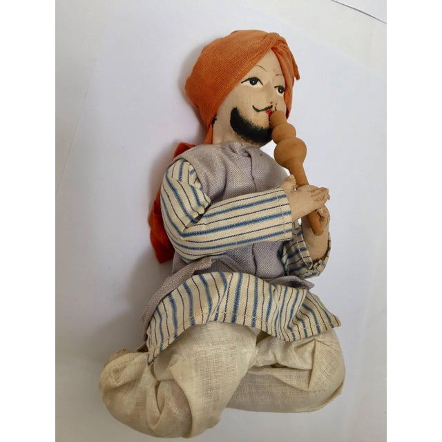 Cotton Handcrafted Anglo-Raj Vintage Stuffed Sitting Snake Charmer Doll, India For Sale - Image 7 of 7