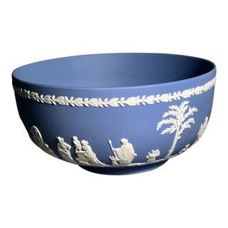 Vintage Wedgwood Blue & White Jasperware Fruit Bowl For Sale