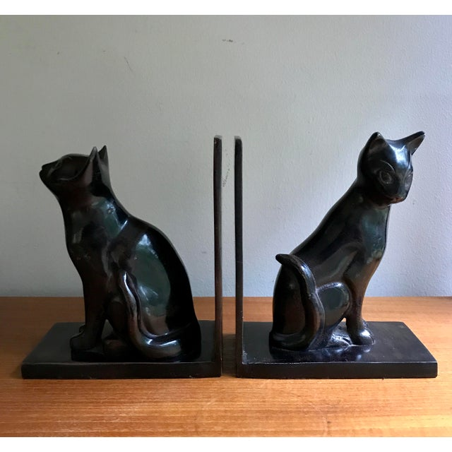 Metal Vintage Book Ends Cats - Polished Stone, a Pair For Sale - Image 7 of 9