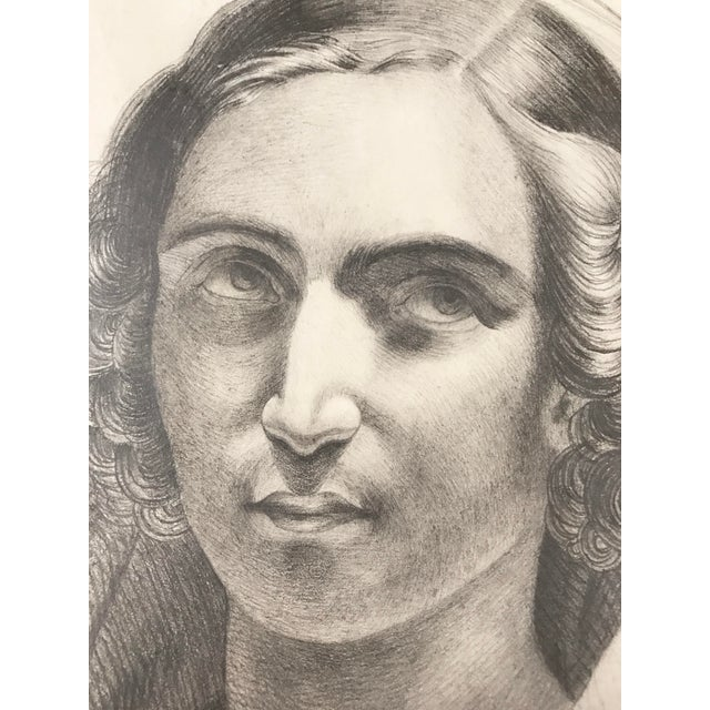 Mid 19th Century 1847 French Portrait Drawing For Sale - Image 5 of 5