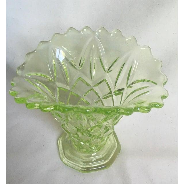 """Vintage 1930s Art Deco Uranium Green Glass """"Manchester Basket"""" Vase - Image 2 of 10"""