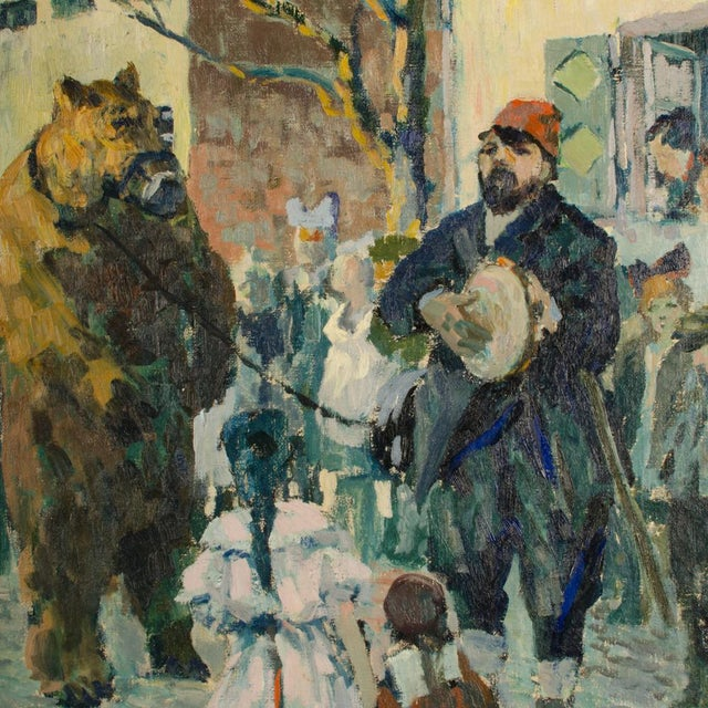 """1920s 1920s """"Performing Bear"""" Rustic European Village Scene Oil Painting by Richard Bloos For Sale - Image 5 of 11"""