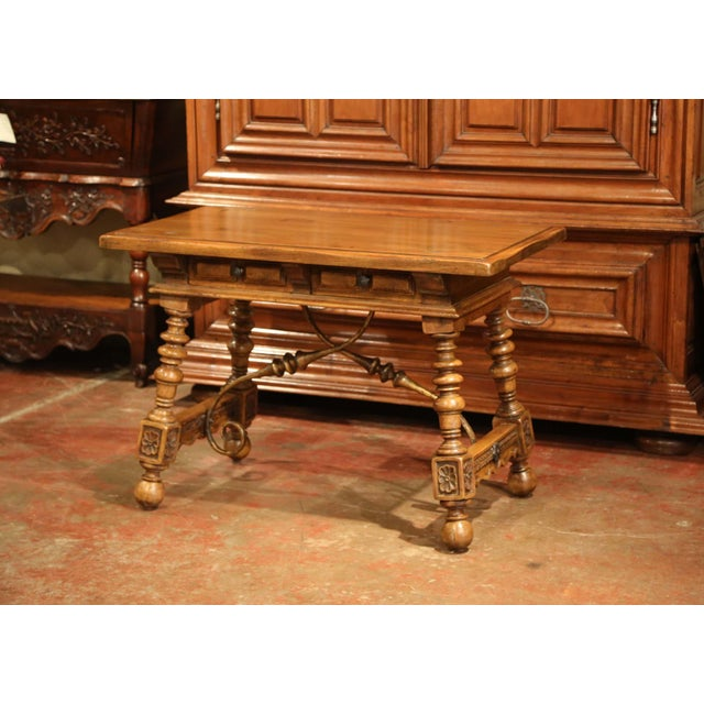 Early 20th Century Early 20th Century Spanish Carved Walnut Writing Table With Iron Stretcher For Sale - Image 5 of 12