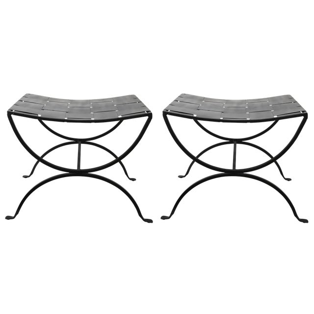 Mid-Century Modern Iron Benches - a Pair For Sale