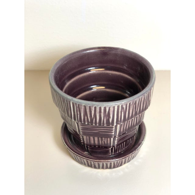 """American McCoy Pottery Small """"Dark Purple"""" Mid-Century Flowerpot and Saucer For Sale - Image 3 of 6"""