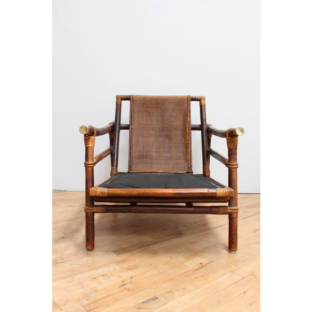 Asian Authentic Signed Ficks Reed Rattan Campaign Chair- 1954 For Sale - Image 3 of 13