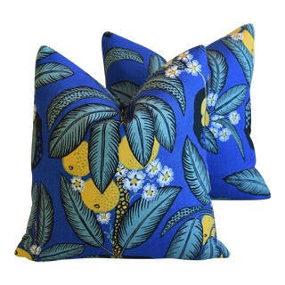 "Designer Josef Frank ""Notturno"" Floral Linen Feather/Down Pillows 18"" Square - Pair For Sale"