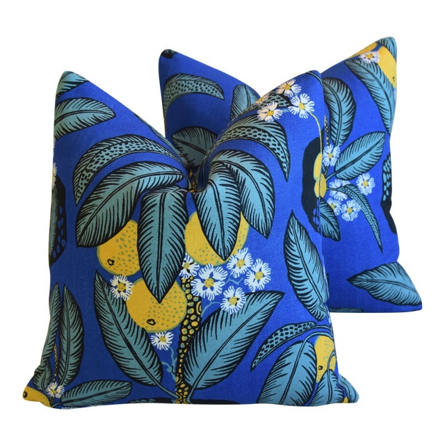 """Designer Josef Frank """"Notturno"""" Floral Linen Feather/Down Pillows 18"""" Square - Pair For Sale"""