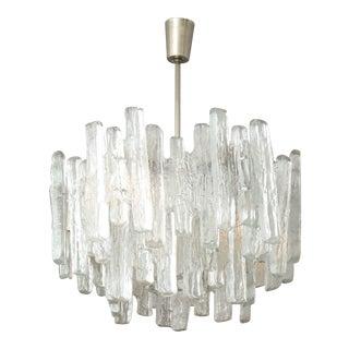 Vintage Kalmar Ice Glass Chandelier For Sale