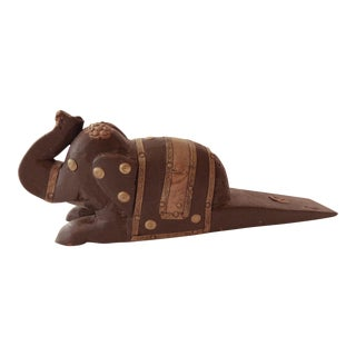 Vintage Elephant Wooden Door Stopper For Sale