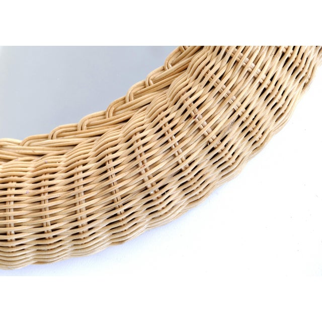 Wicker Overscale Vintage Elongated Woven Wicker Wall Mirror For Sale - Image 7 of 7