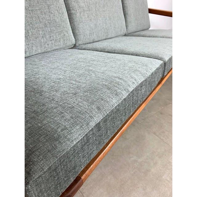 Gray 1950s Vintage Borge Jensen Teak Frame Gray Three Seat Sofa For Sale - Image 8 of 11