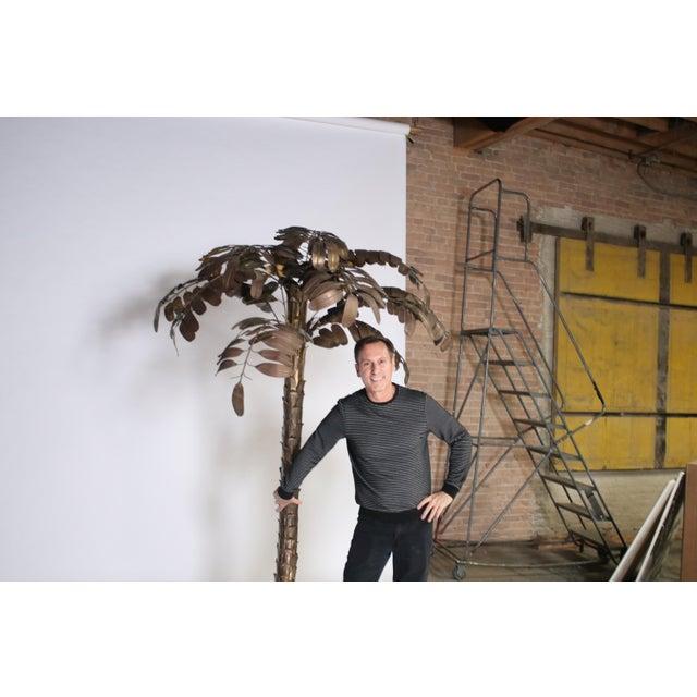 Hollywood Regency Monumental Metal Palm Tree Sculpture For Sale - Image 3 of 9