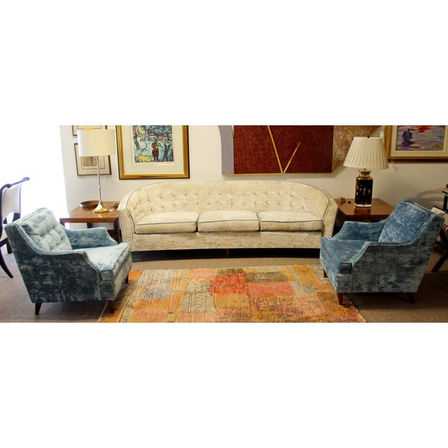 Mid-Century Modern Mid Century Modern Kroehler Suite Crushed Velvet Sofa Chairs Set 1950s - Set of 3 For Sale - Image 3 of 10