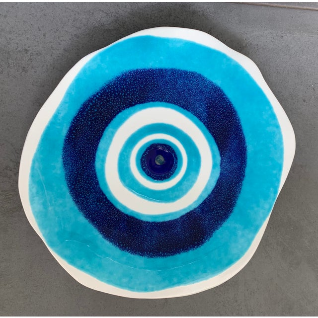 Blue Modern Mediterranean Handmade Glazed Pottery Platter, Evil Eye 1 For Sale - Image 8 of 8