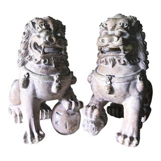 Foo Dog Sculpted Plaster and Resin Stone Look Statues- a Pair