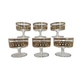 Mid-Century Vintage Culver Antigua Gold Champagne Coupes - Set of 6