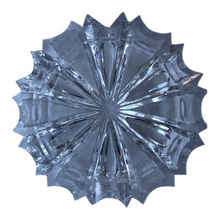 Vintage Crystal Block Cut Ashtray For Sale
