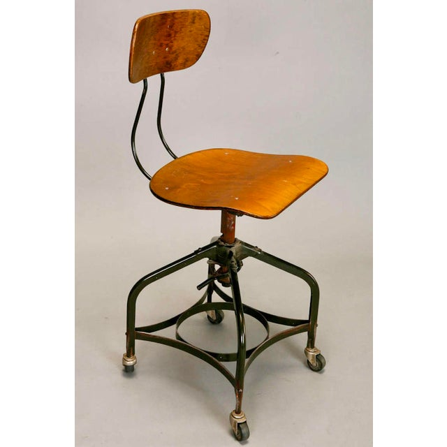 Classic Industrial chair from the Toledo Metal Furniture Company. This 1950's chair is designed with tubular steel legs on...