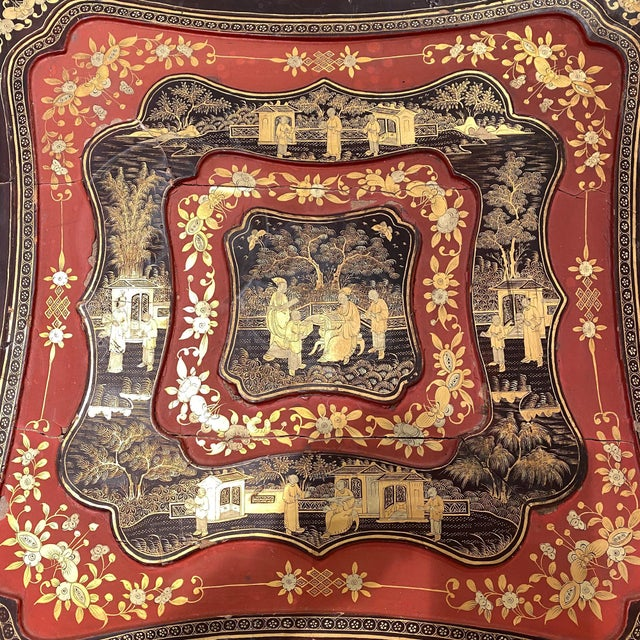 19th Century China Trade Gilt Lacquer Box Table For Sale - Image 4 of 5