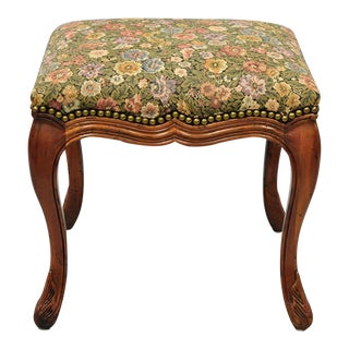 Vintage French Country Louis XV Distressed Stool