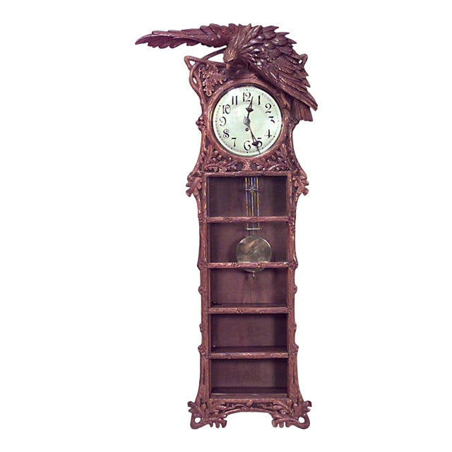 Rustic Black Forest 19th Century Walnut Wall Clock For Sale