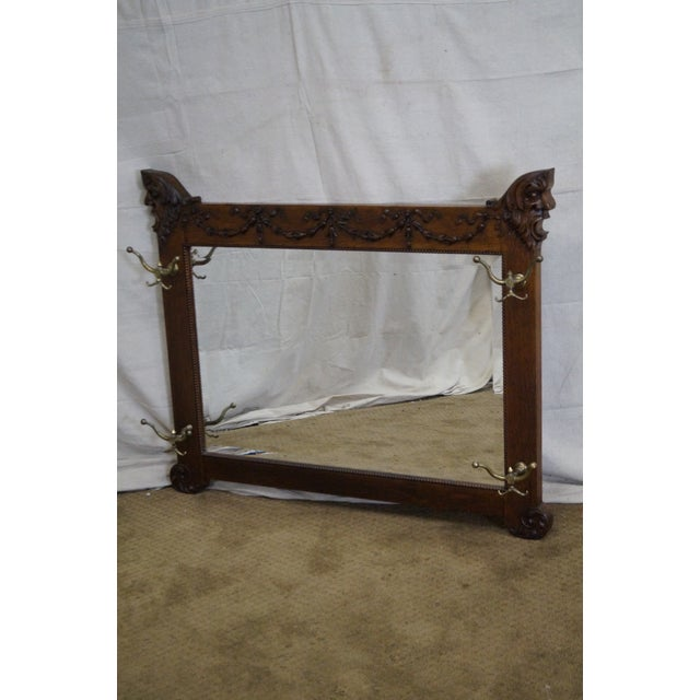 Antique Victorian Oak Carved Hall Mirror - Image 2 of 10