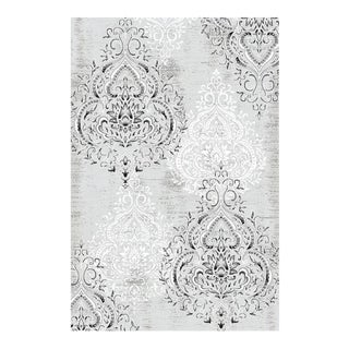 DAMASK GRAY & WHITE RUG 8' X 10'6''