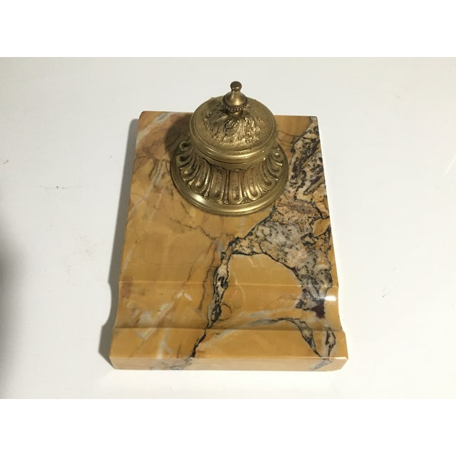 Antique French Gilded Bronze & Marble Inkwell For Sale - Image 13 of 13