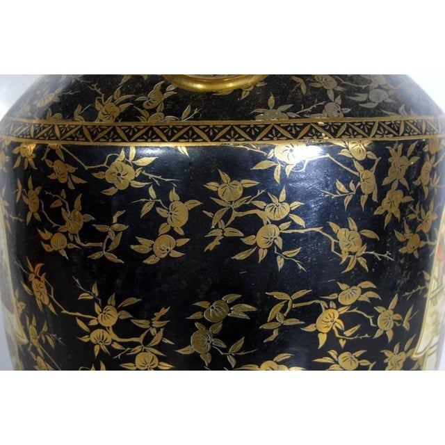 Ceramic Vintage Hand-Painted Porcelain Vase with Gilded Accents from 20th Century, China For Sale - Image 7 of 10